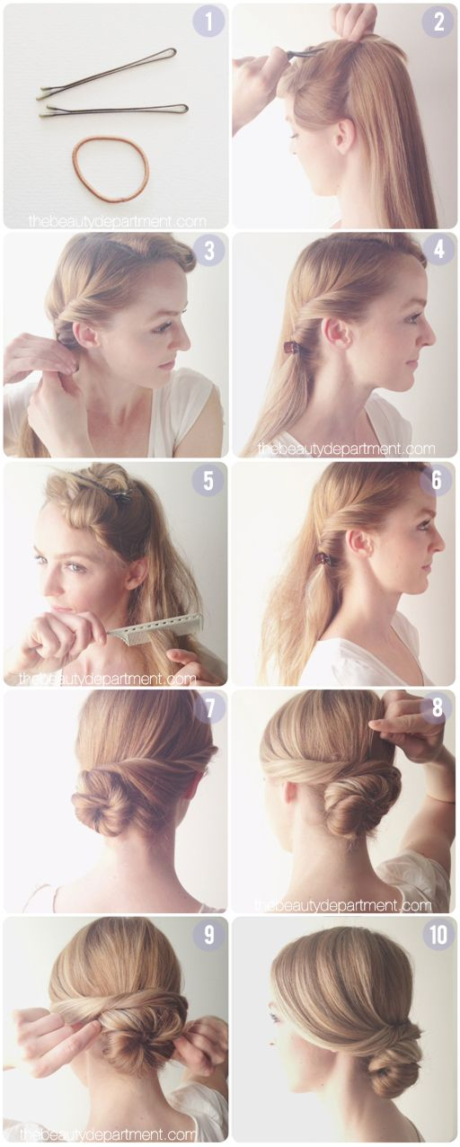 This elegant chignon is lovely on its own, but it's also structured to accom...