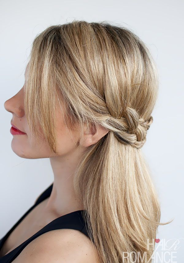 This half crown braid will work with either straight or curly hair. Click on the...