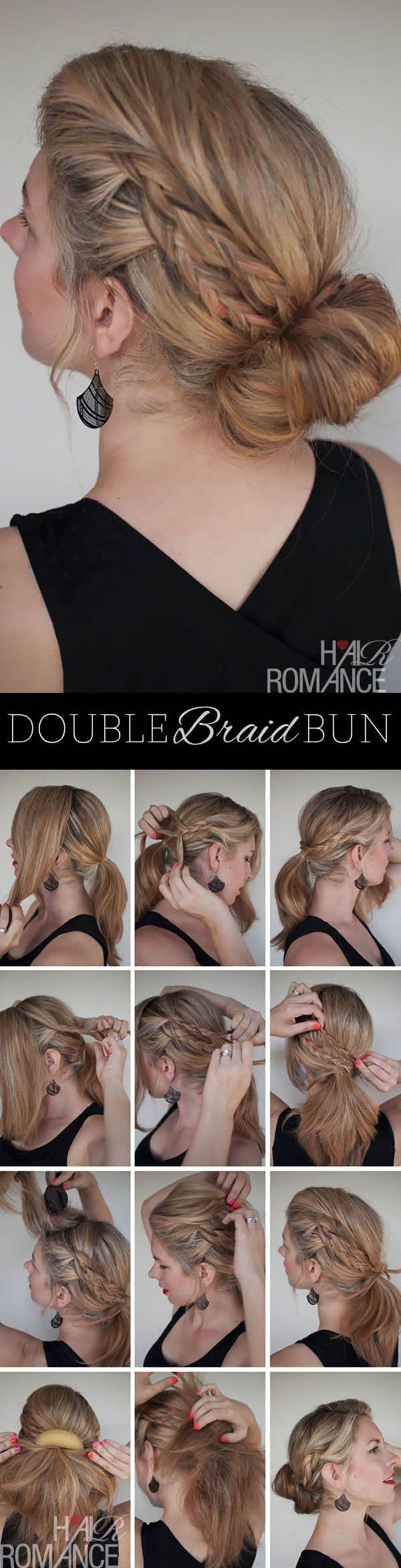This is pretty: the double-braid bun....