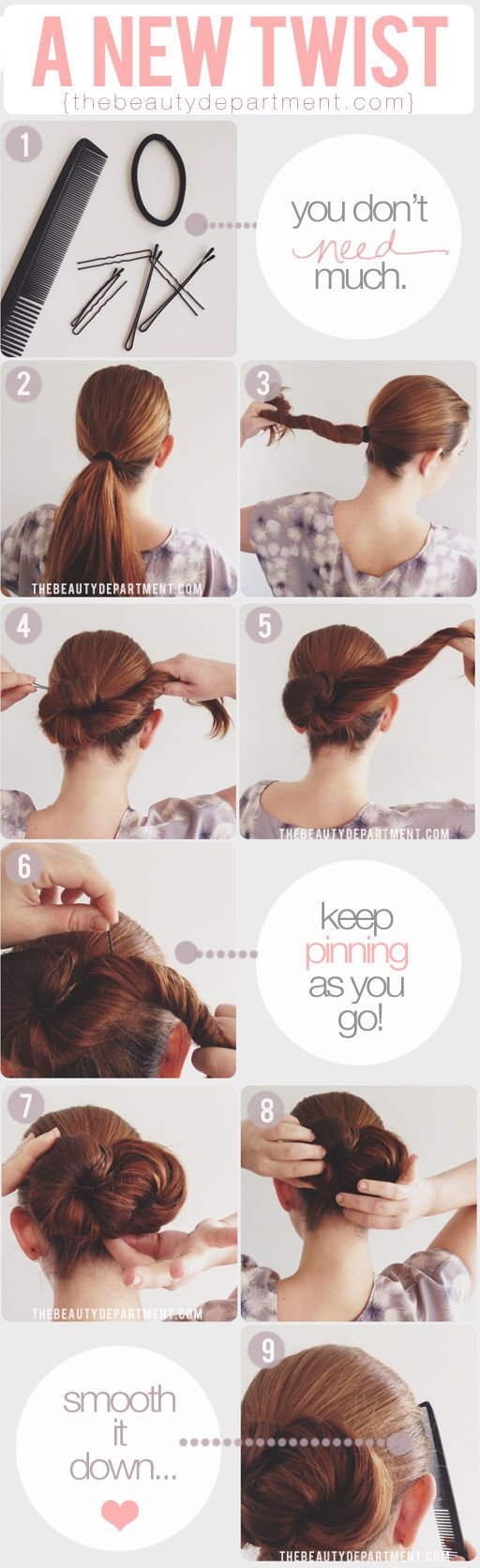 """This one is for the long-haired girls: a chic """"infinity"""" bun...."""