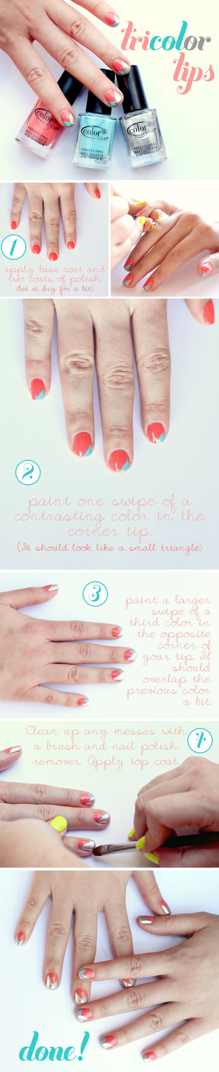 Tricolor nails: Get the steps.