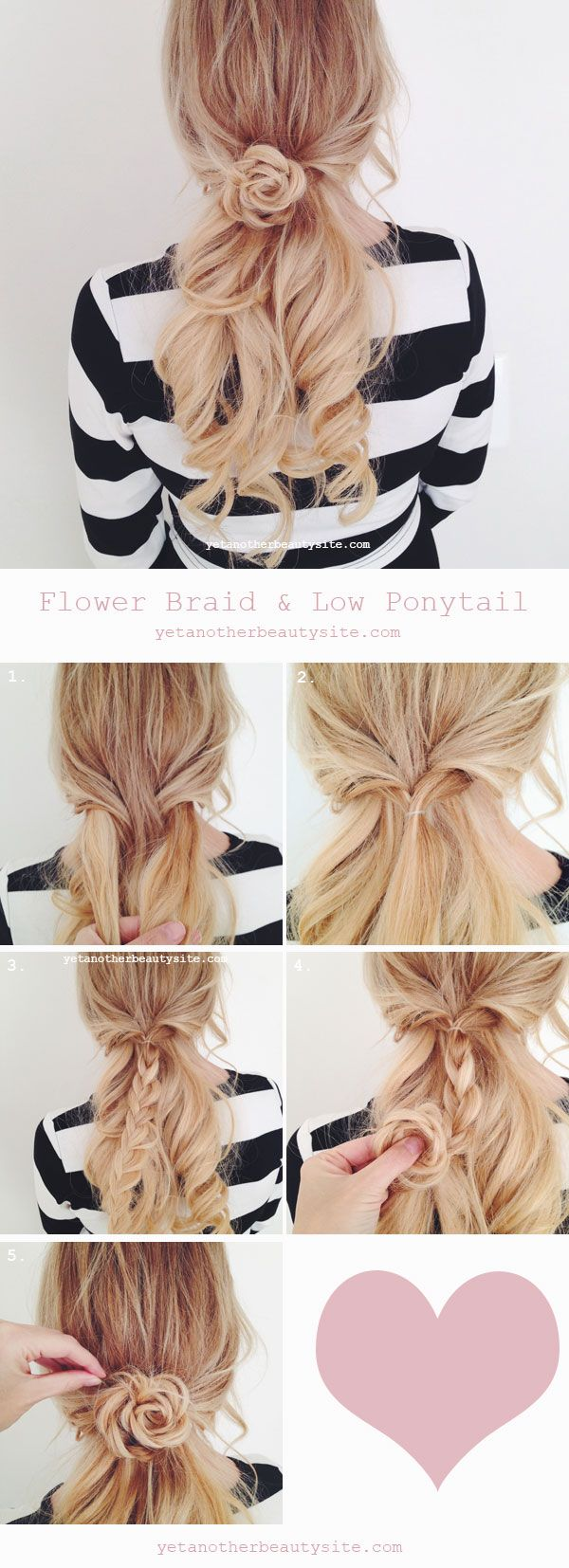 -Wendy- For the hair handicapped #23- Flower braid and low pony. For medium to l...