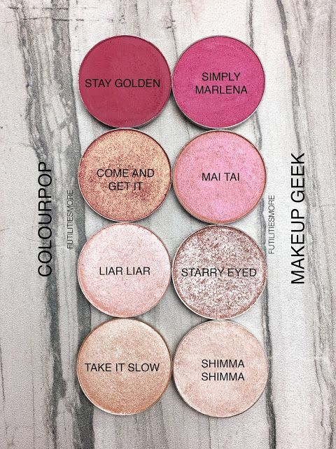 ♡ Pinterest :: Kayleepo ♡ PINKS: Colourpop VS Makeup Geek Eyeshadows swatche...