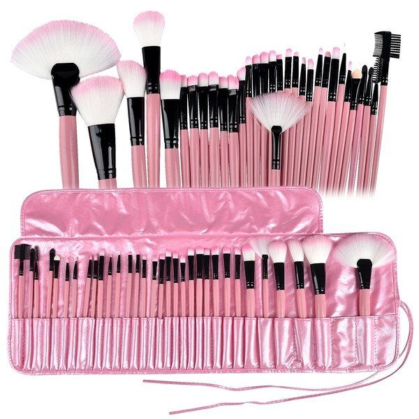 22Pink 32 Pcs Make Up Tools Cosmetic Makeup Brush Set Kit + Pouch Bag Case