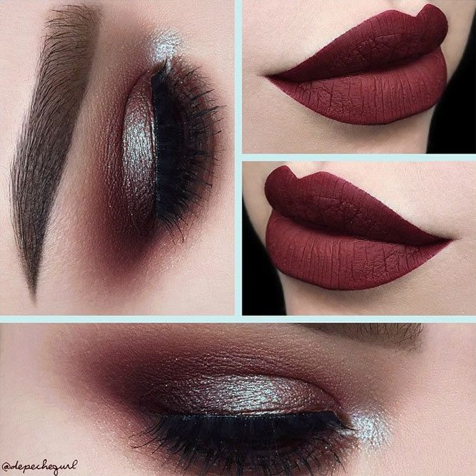 Berry lips and smokey eyes with sparkling eyeshadow is perfect for holiday seaso...