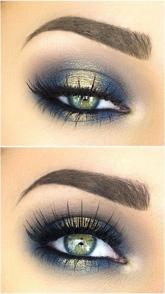 Blues of the Sea eye makeup look, blue and gold eyeshadow, smokey eye makeup, ey...