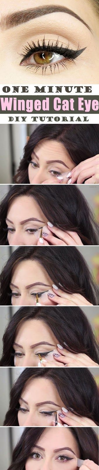 Brief Step by step Tutorial for Surprising One Minute Winged Cat Eye Makeup...  ...