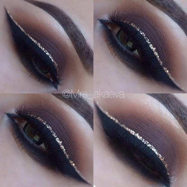 Brown Smokey Eye + Gold Glitter Eyeliner
