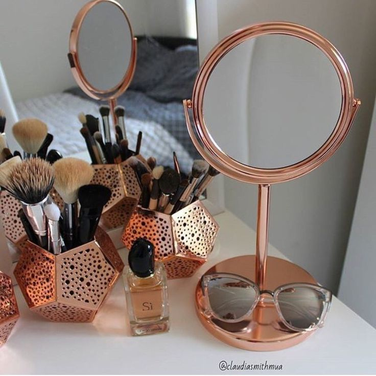 Copper makeup mirror, copper candle holders used as makeup brush holders, all fr...