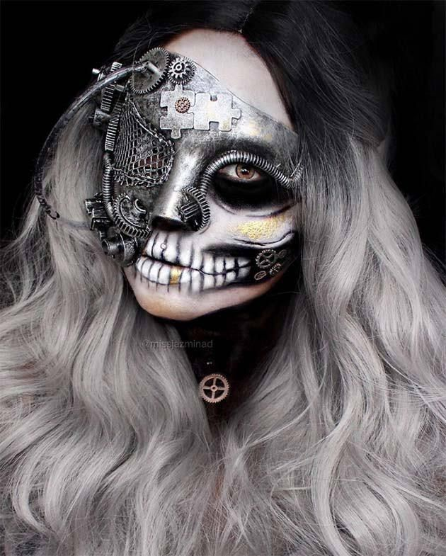 Creative Halloween Makeup Ideas: Punk Skull Halloween Makeup...