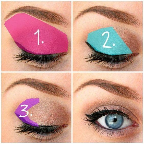 Eyeshadow: (1) lightest shade, (2) medium shade, (3) darkest shade:...