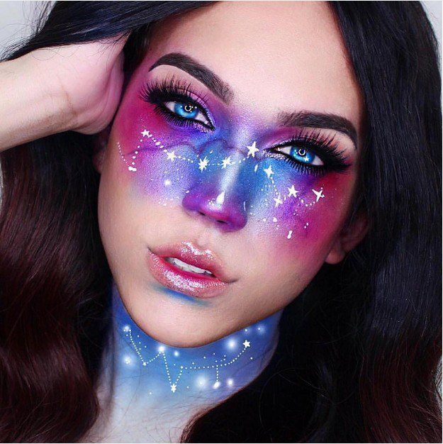 Galaxy Makeup Stars | Creative DIY Makeup Ideas You Can Try for your next Costum...