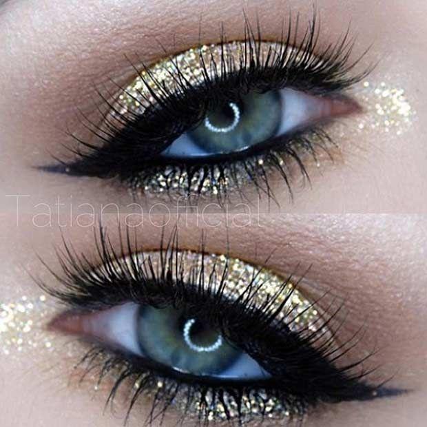Gold Glitter Eye Makeup....