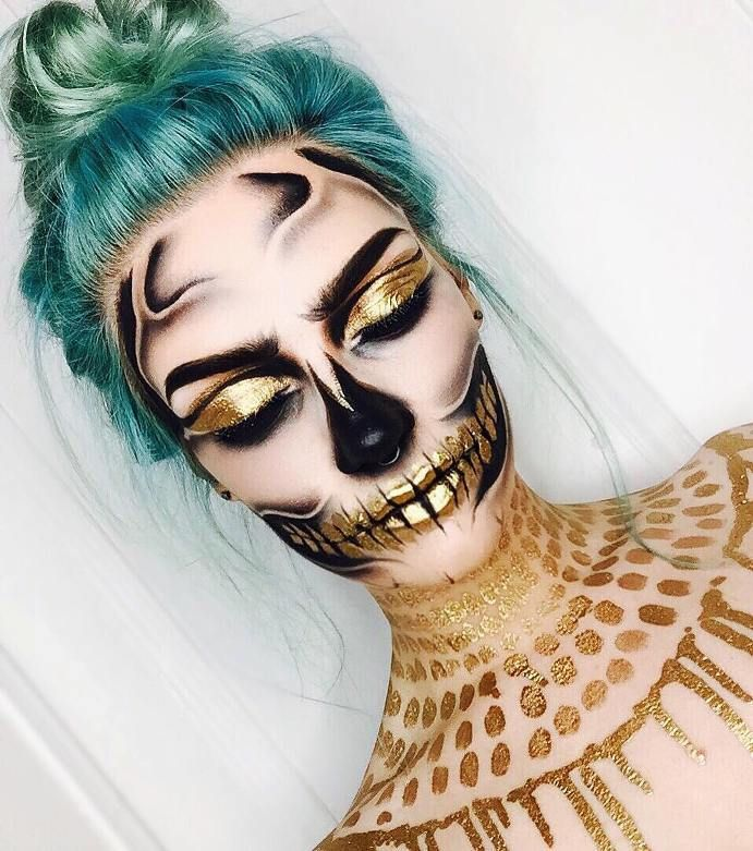 golden skull halloween makeup tutorial bmodish