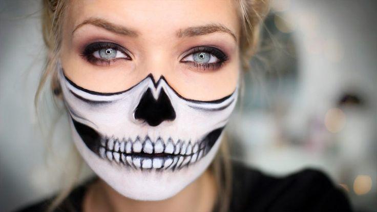half skull face halloween makeup
