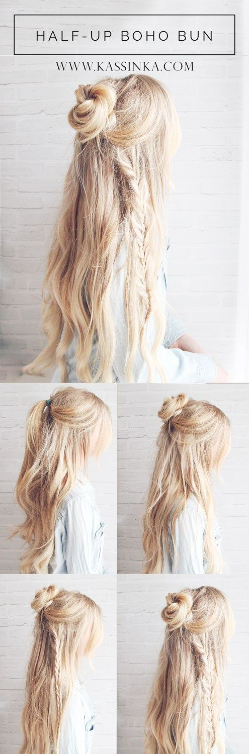Half-up Boho Braided Bun Hair Tutorial