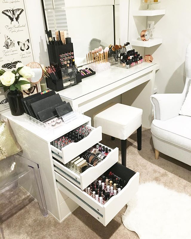I WANT THIS... Vanity room close ups . All makeup storage by @vanitycollections ...