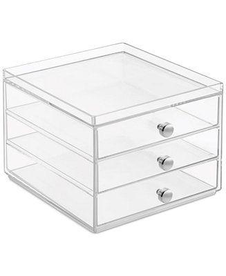 Interdesign Slim 3-Drawer Makeup Organizer, Clear - Storage & Organization -...