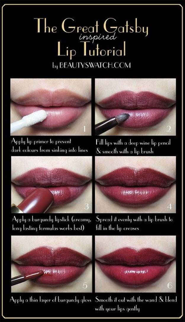 Lipstick Tutorials - Best Step by Step Makeup Tutorial How To - The Great Gatsby...