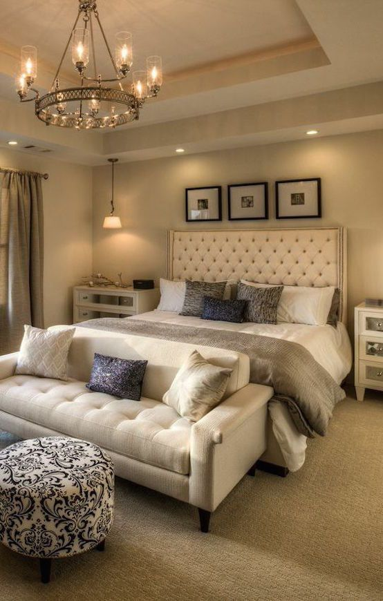 Love the idea of a settee at the end of the bed instead of the usual upholstered...