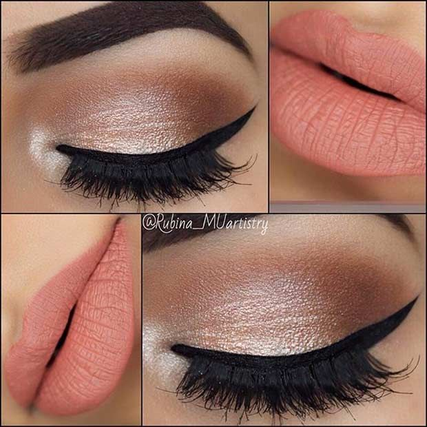 Neutral Eyes and Peach Lips Makeup Look for Prom