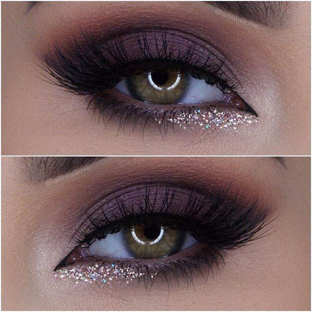 O glitter dourado abaixo da linha d'água no canto interno do olho fica perf...