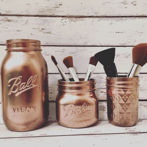 Or get these fancy brushed rose gold mason jars for your goods! | 17 Ideal Makeu...