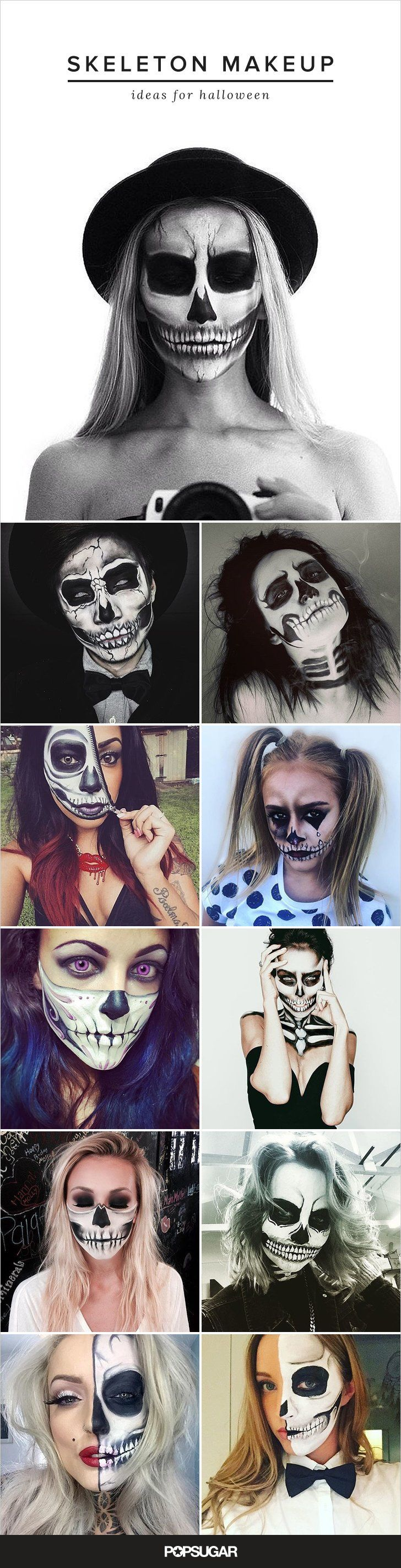 Pin for Later: 62 Terrifyingly Cool Skeleton Makeup Ideas to Try For Halloween P...