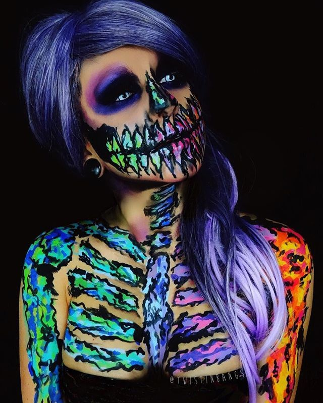 Pin for Later: 62 Terrifyingly Cool Skeleton Makeup Ideas to Try For Halloween