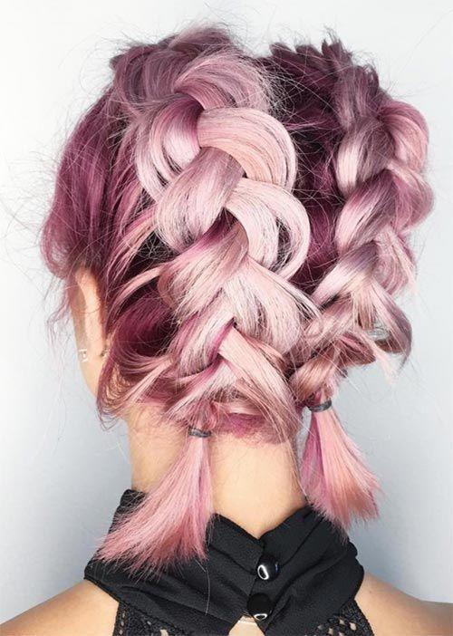 Pretty Holiday Hairstyles Ideas: Double Dutch Braids for Short Hair...