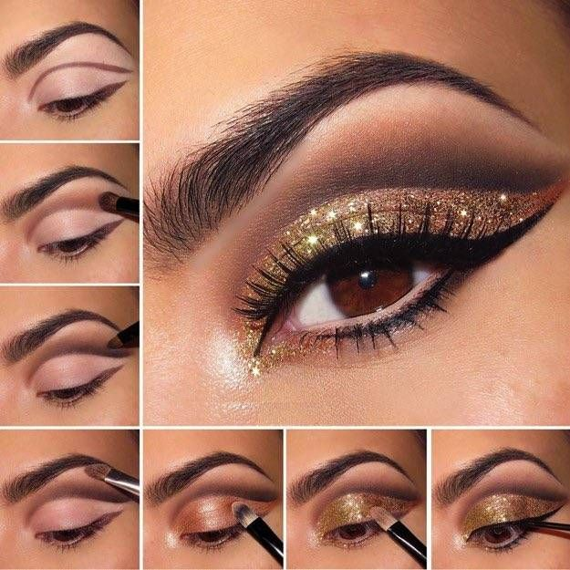 Step By Step Eyeshadow Tutorial for Beginners: Dark Crease Eyeshadow with Glitte...