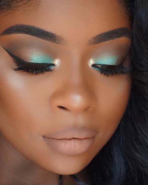 Teal Mint Smokey Eye Makeup for Dark Skin  ✨ Follow CindyLBB✨ Instagram: Cin...