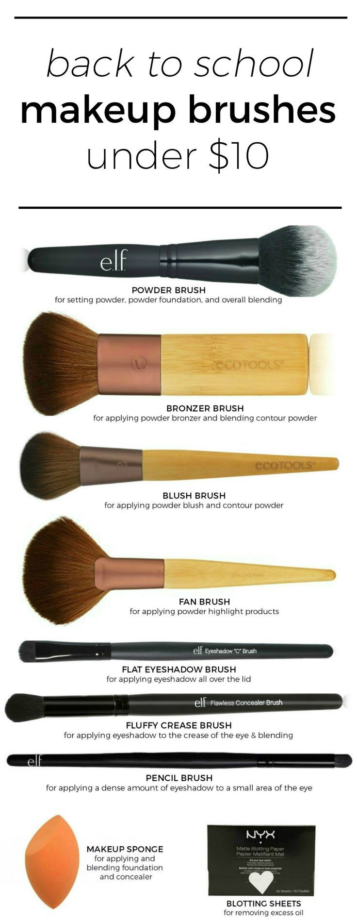 The best makeup brushes under $10 that are perfect for your back to school makeu...