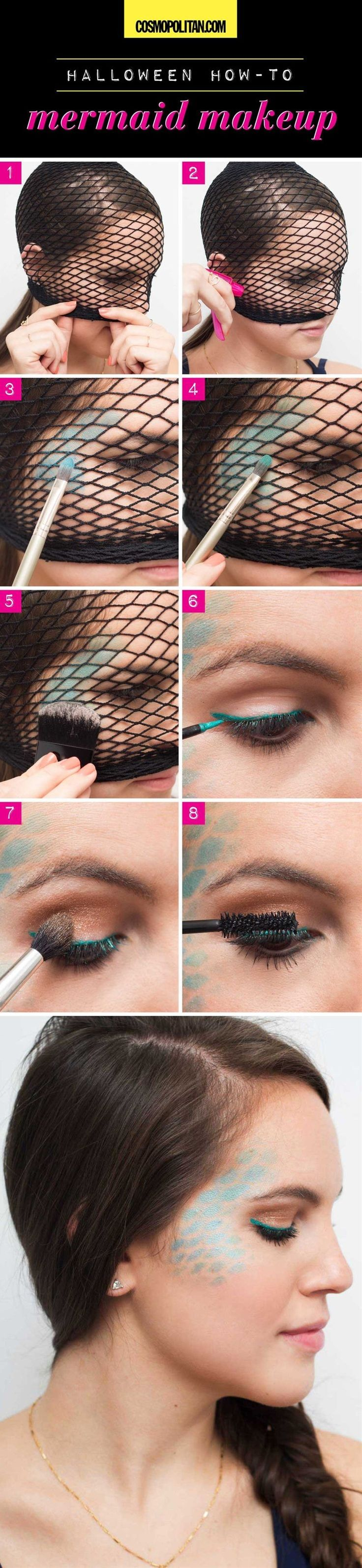 Try this easy mermaid makeup look by using fishnet tights to stencil some scales...