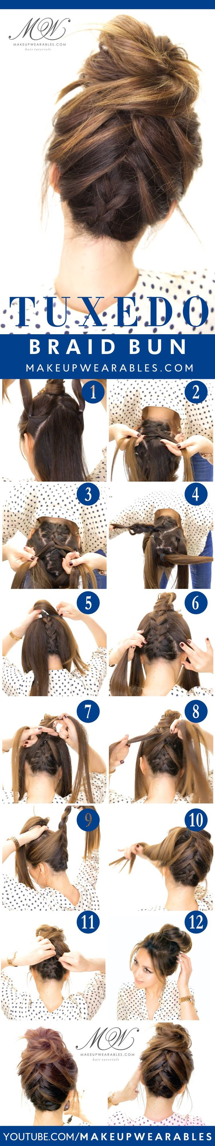 Tuxedo Braid Bun Tutorial 5 Messy Updos for Long Hair, check it out at makeuptut...