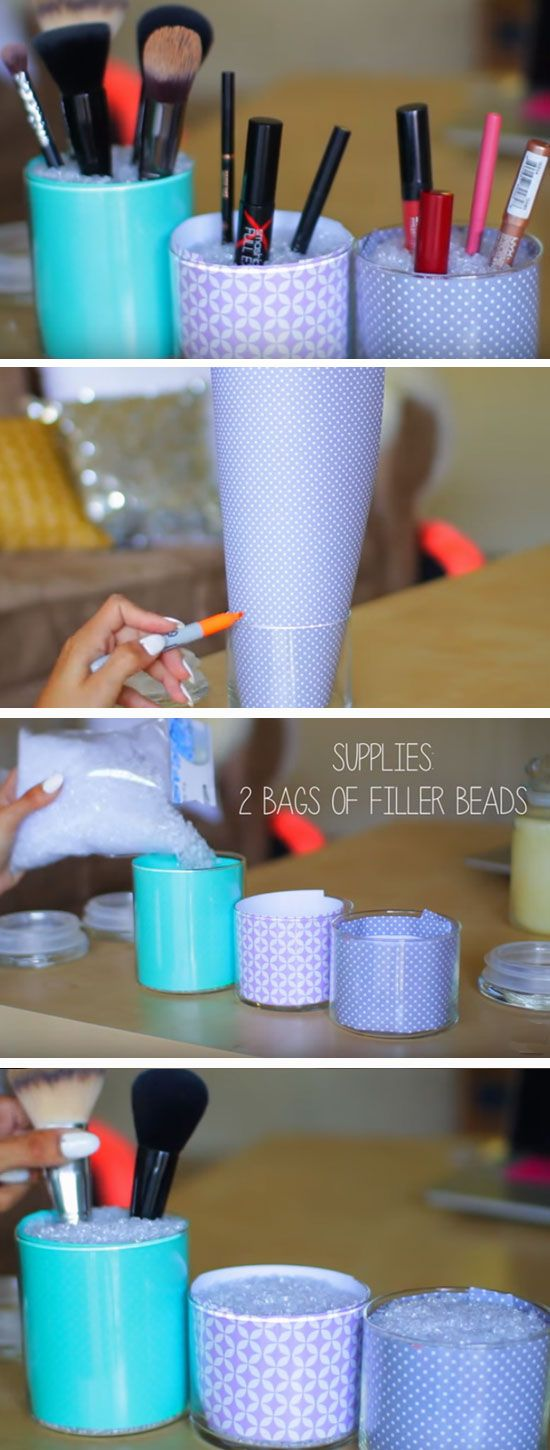 Use Jars to Tidy Makeup | Easy Spring Cleaning Tips and Tricks | DIY Teen Girl B...