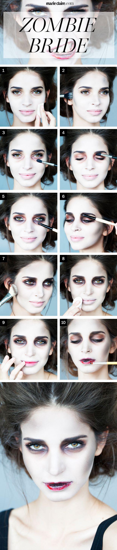 zombie bride halloween makeup tutorial  - MarieClaire.com