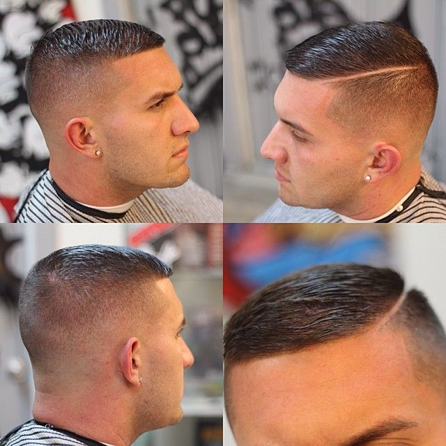 Crewcut with a hard part...