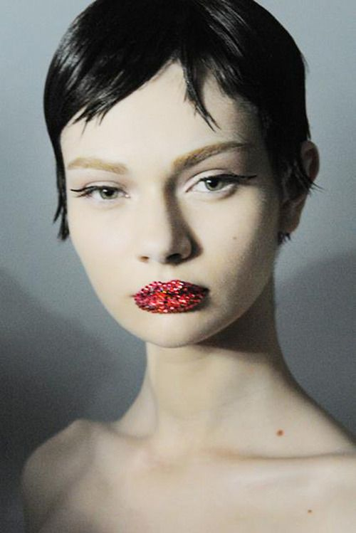 Antonina Vasylchenko backstage at Christian Dior Haute Couture Spring/Summer 201...