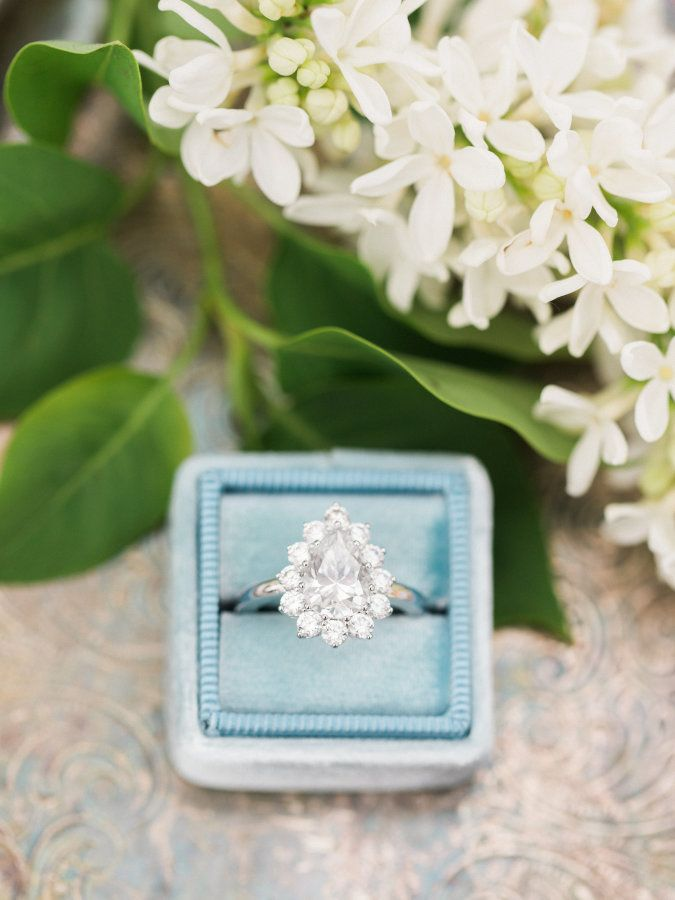 Dreamy pear shaped halo engagement ring: www.stylemepretty... | Photography: The...
