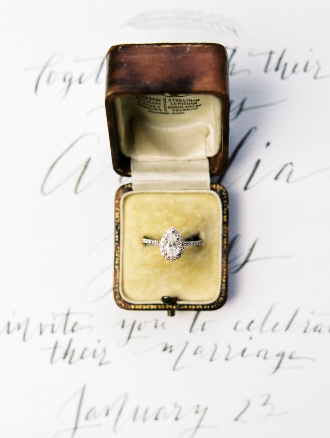 Gorgeous pear shaped diamond engagement ring: www.stylemepretty... | Photography...