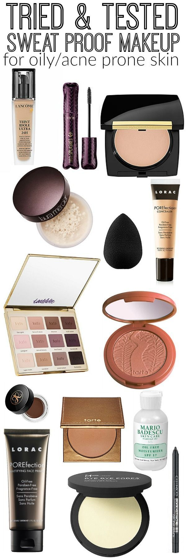 Seriously sweat proof makeup! The best makeup products for oily & acne prone ski...