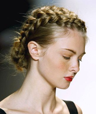 Crown braid and red lip