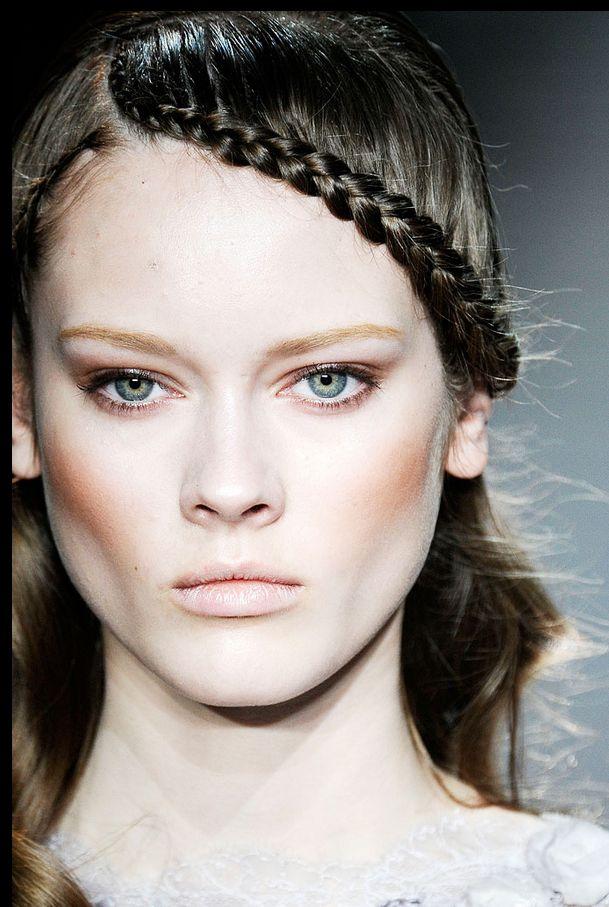 High cheekbones and a waterfall braid at Elie Saab 2013 Haute Couture show