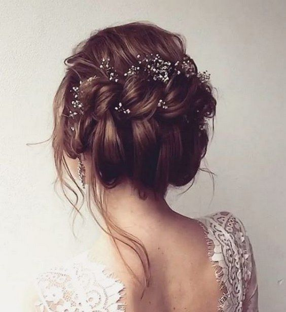Messy Twisted Updo Wedding Hairstyle With Dainty Hair Accessories Via Ulyana Ast