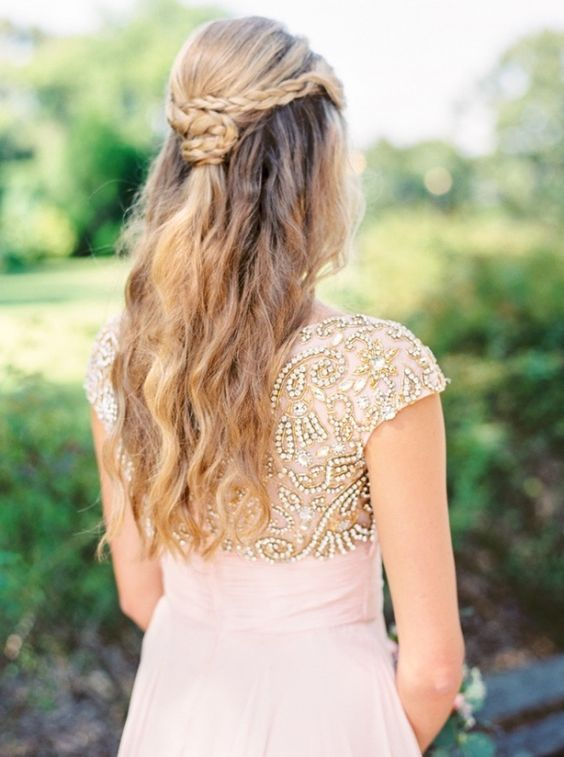 Romantic Braided Partial Updo with a Beaded Wedding Dress | JoPhoto on…