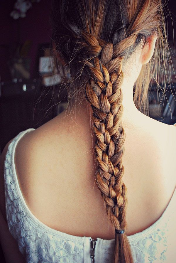 Split hair into 3 equal sections & braid each so you end up with 3 braids, then ...