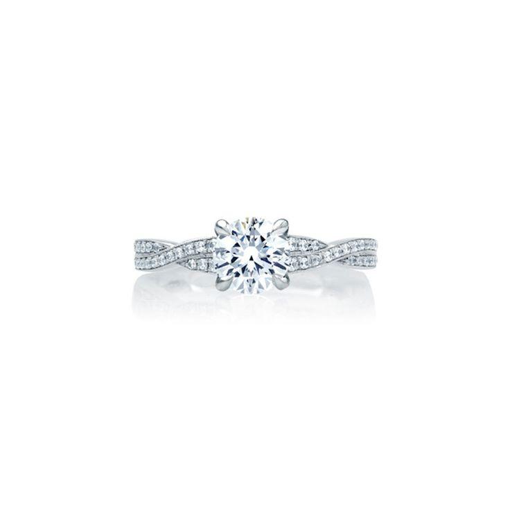 A.JAFFE Crossover Diamond Shank Engagement Ring www.stylemepretty...