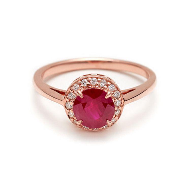 Anna Sheffield Round Ruby Rosette Ring: www.stylemepretty...