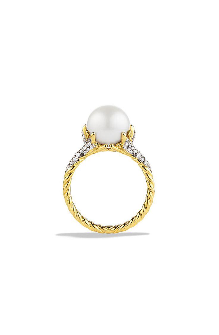 David Yurman yellow gold pearl engagement ring: www.stylemepretty...